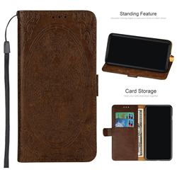 Intricate Embossing Dragon Totem Leather Wallet Case for Samsung Galaxy A6 Plus (2018) - Light Brown