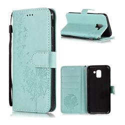 Intricate Embossing Dandelion Butterfly Leather Wallet Case for Samsung Galaxy A6 Plus (2018) - Green