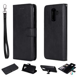 Retro Greek Detachable Magnetic PU Leather Wallet Phone Case for Samsung Galaxy A6 Plus (2018) - Black