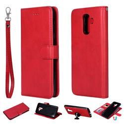 Retro Greek Detachable Magnetic PU Leather Wallet Phone Case for Samsung Galaxy A6 Plus (2018) - Red