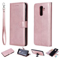 Retro Greek Detachable Magnetic PU Leather Wallet Phone Case for Samsung Galaxy A6 Plus (2018) - Rose Gold