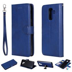 Retro Greek Detachable Magnetic PU Leather Wallet Phone Case for Samsung Galaxy A6 Plus (2018) - Blue