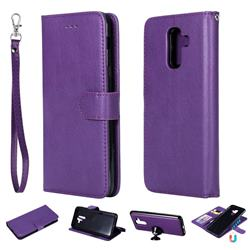 Retro Greek Detachable Magnetic PU Leather Wallet Phone Case for Samsung Galaxy A6 Plus (2018) - Purple