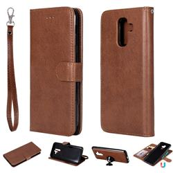 Retro Greek Detachable Magnetic PU Leather Wallet Phone Case for Samsung Galaxy A6 Plus (2018) - Brown