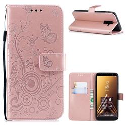Intricate Embossing Butterfly Circle Leather Wallet Case for Samsung Galaxy A6 Plus (2018) - Rose Gold