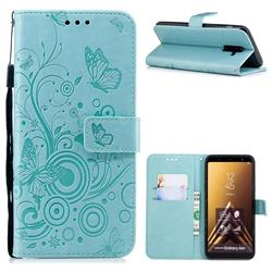 Intricate Embossing Butterfly Circle Leather Wallet Case for Samsung Galaxy A6 Plus (2018) - Cyan
