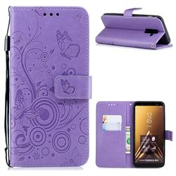 Intricate Embossing Butterfly Circle Leather Wallet Case for Samsung Galaxy A6 Plus (2018) - Purple
