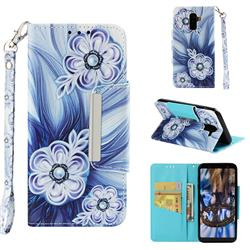 Button Flower Big Metal Buckle PU Leather Wallet Phone Case for Samsung Galaxy A6 Plus (2018)