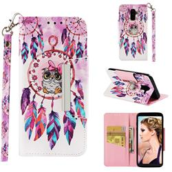 Owl Wind Chimes Big Metal Buckle PU Leather Wallet Phone Case for Samsung Galaxy A6 Plus (2018)