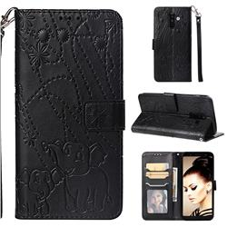 Embossing Fireworks Elephant Leather Wallet Case for Samsung Galaxy A6 Plus (2018) - Black