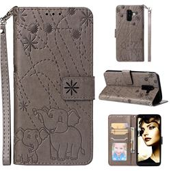 Embossing Fireworks Elephant Leather Wallet Case for Samsung Galaxy A6 Plus (2018) - Gray