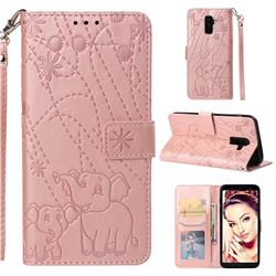 Embossing Fireworks Elephant Leather Wallet Case for Samsung Galaxy A6 Plus (2018) - Rose Gold