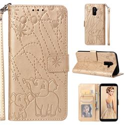 Embossing Fireworks Elephant Leather Wallet Case for Samsung Galaxy A6 Plus (2018) - Golden