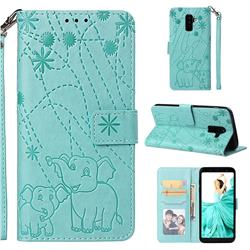 Embossing Fireworks Elephant Leather Wallet Case for Samsung Galaxy A6 Plus (2018) - Green