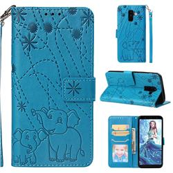 Embossing Fireworks Elephant Leather Wallet Case for Samsung Galaxy A6 Plus (2018) - Blue