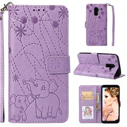 Embossing Fireworks Elephant Leather Wallet Case for Samsung Galaxy A6 Plus (2018) - Purple