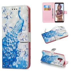 Blue Peacock 3D Painted Leather Wallet Phone Case for Samsung Galaxy A6 Plus (2018)