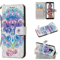 Colorful Elephant 3D Painted Leather Wallet Phone Case for Samsung Galaxy A6 Plus (2018)