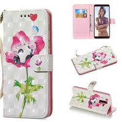 Flower Panda 3D Painted Leather Wallet Phone Case for Samsung Galaxy A6 Plus (2018)