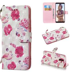 Flamingo 3D Painted Leather Wallet Phone Case for Samsung Galaxy A6 Plus (2018)