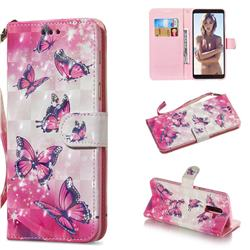Pink Butterfly 3D Painted Leather Wallet Phone Case for Samsung Galaxy A6 Plus (2018)