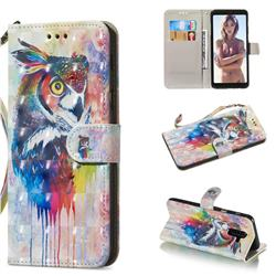 Watercolor Owl 3D Painted Leather Wallet Phone Case for Samsung Galaxy A6 Plus (2018)