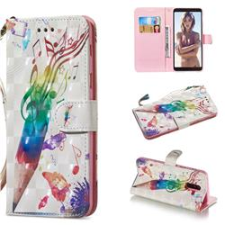 Music Pen 3D Painted Leather Wallet Phone Case for Samsung Galaxy A6 Plus (2018)