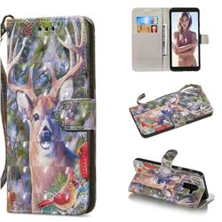 Elk Deer 3D Painted Leather Wallet Phone Case for Samsung Galaxy A6 Plus (2018)