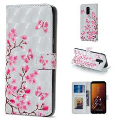 Butterfly Sakura Flower 3D Painted Leather Phone Wallet Case for Samsung Galaxy A6 Plus (2018)