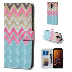Color Wave 3D Painted Leather Phone Wallet Case for Samsung Galaxy A6 Plus (2018)