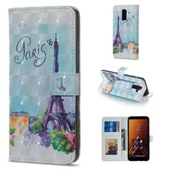 Paris Tower 3D Painted Leather Phone Wallet Case for Samsung Galaxy A6 Plus (2018)