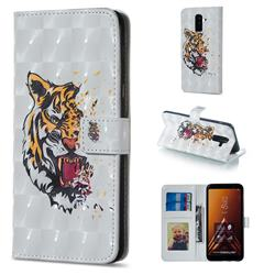 Toothed Tiger 3D Painted Leather Phone Wallet Case for Samsung Galaxy A6 Plus (2018)