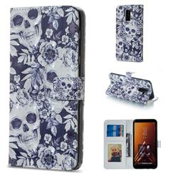 Skull Flower 3D Painted Leather Phone Wallet Case for Samsung Galaxy A6 Plus (2018)
