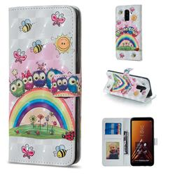 Rainbow Owl Family 3D Painted Leather Phone Wallet Case for Samsung Galaxy A6 Plus (2018)