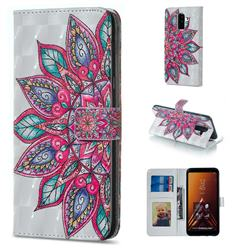 Mandara Flower 3D Painted Leather Phone Wallet Case for Samsung Galaxy A6 Plus (2018)