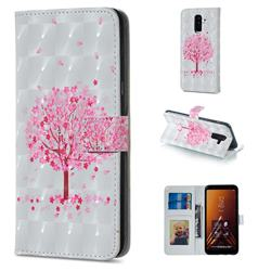 Sakura Flower Tree 3D Painted Leather Phone Wallet Case for Samsung Galaxy A6 Plus (2018)
