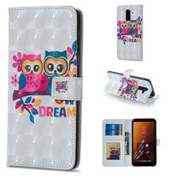 Couple Owl 3D Painted Leather Phone Wallet Case for Samsung Galaxy A6 Plus (2018)