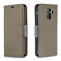 Classic Luxury Litchi Leather Phone Wallet Case for Samsung Galaxy A6 Plus (2018) - Gray