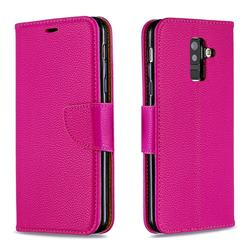 Classic Luxury Litchi Leather Phone Wallet Case for Samsung Galaxy A6 Plus (2018) - Rose