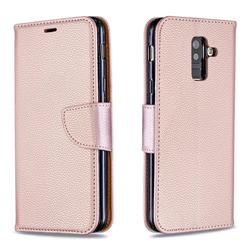 Classic Luxury Litchi Leather Phone Wallet Case for Samsung Galaxy A6 Plus (2018) - Golden