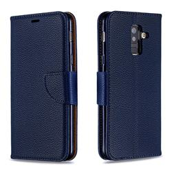 Classic Luxury Litchi Leather Phone Wallet Case for Samsung Galaxy A6 Plus (2018) - Blue