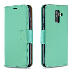 Classic Luxury Litchi Leather Phone Wallet Case for Samsung Galaxy A6 Plus (2018) - Green