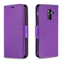 Classic Luxury Litchi Leather Phone Wallet Case for Samsung Galaxy A6 Plus (2018) - Purple