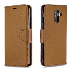 Classic Luxury Litchi Leather Phone Wallet Case for Samsung Galaxy A6 Plus (2018) - Brown