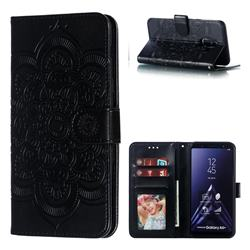 Intricate Embossing Datura Solar Leather Wallet Case for Samsung Galaxy A6 Plus (2018) - Black