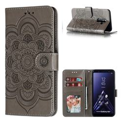 Intricate Embossing Datura Solar Leather Wallet Case for Samsung Galaxy A6 Plus (2018) - Gray