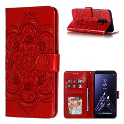 Intricate Embossing Datura Solar Leather Wallet Case for Samsung Galaxy A6 Plus (2018) - Red