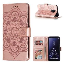 Intricate Embossing Datura Solar Leather Wallet Case for Samsung Galaxy A6 Plus (2018) - Rose Gold