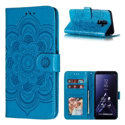 Intricate Embossing Datura Solar Leather Wallet Case for Samsung Galaxy A6 Plus (2018) - Blue
