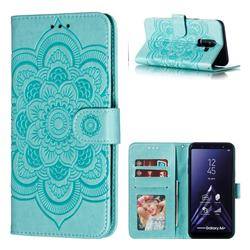 Intricate Embossing Datura Solar Leather Wallet Case for Samsung Galaxy A6 Plus (2018) - Green